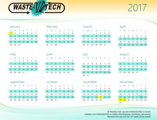 2017 Service Calendar